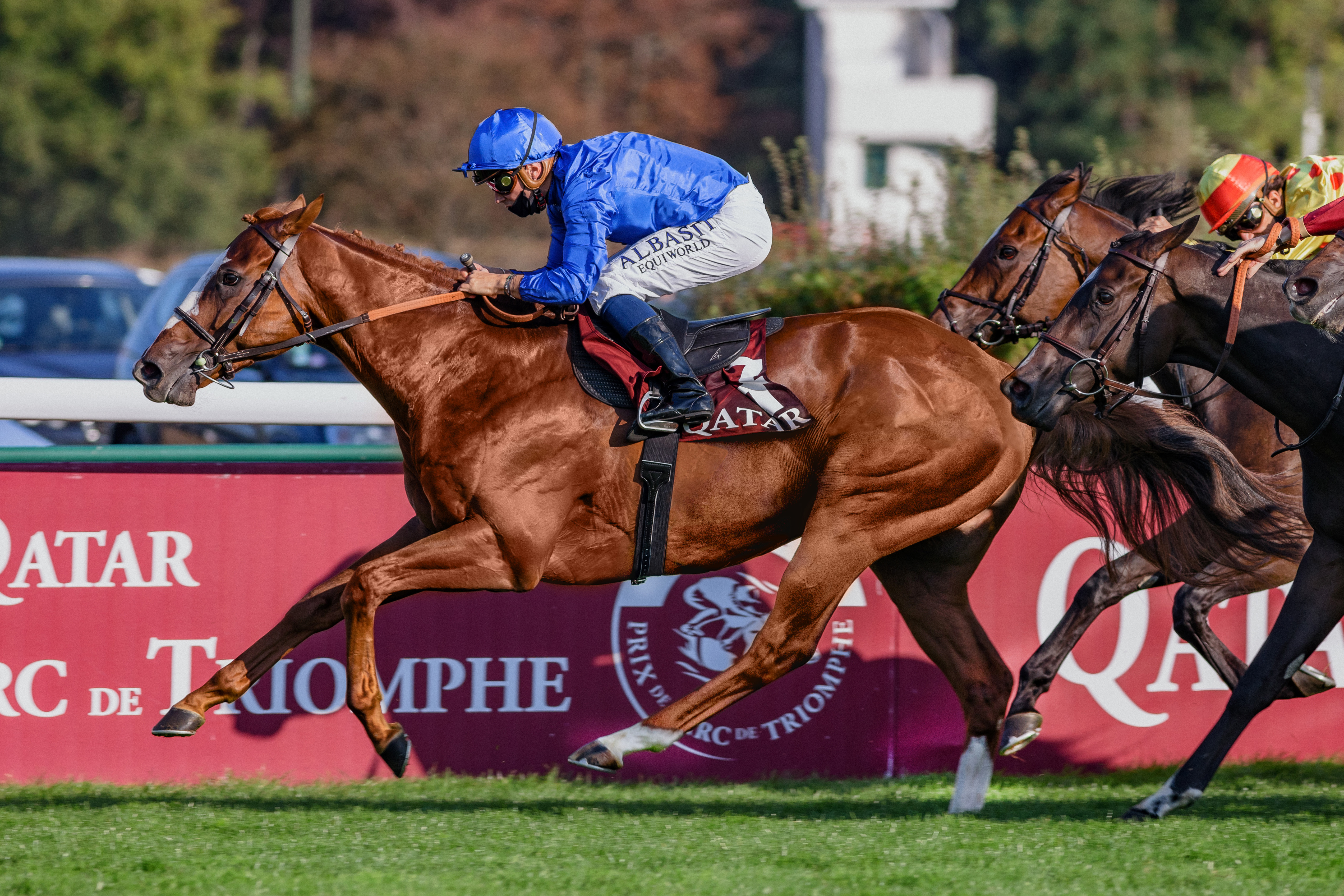 """Earthlight  (M Barzalona) wins Qatar Prix du Pin Gr.3 in ParisLongchamp 13/09/20, Photo Zuzanna Lupa / Racingfotos.com  THIS IMAGE IS SOURCED FROM AND MUST BE BYLINED """"RACINGFOTOS.COM"""""""